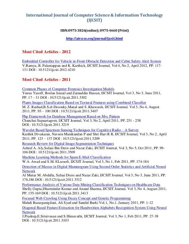 International Journal of Computer Science & Information Technology (IJCSIT) ISSN:0975-3826(online); 0975-4660 (Print) http...