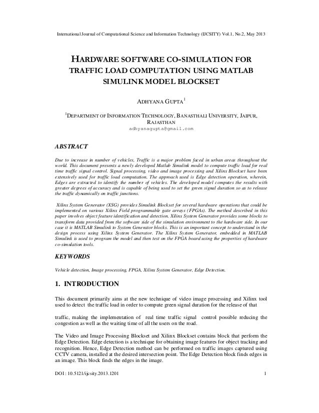 HARDWARE SOFTWARE CO-SIMULATION FOR TRAFFIC LOAD COMPUTATION USING MA…