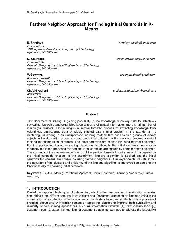 N. Sandhya, K. Anuradha, V. Sowmya & Ch. Vidyadhari International Journal of Data Engineering (IJDE), Volume (5) : Issue (...