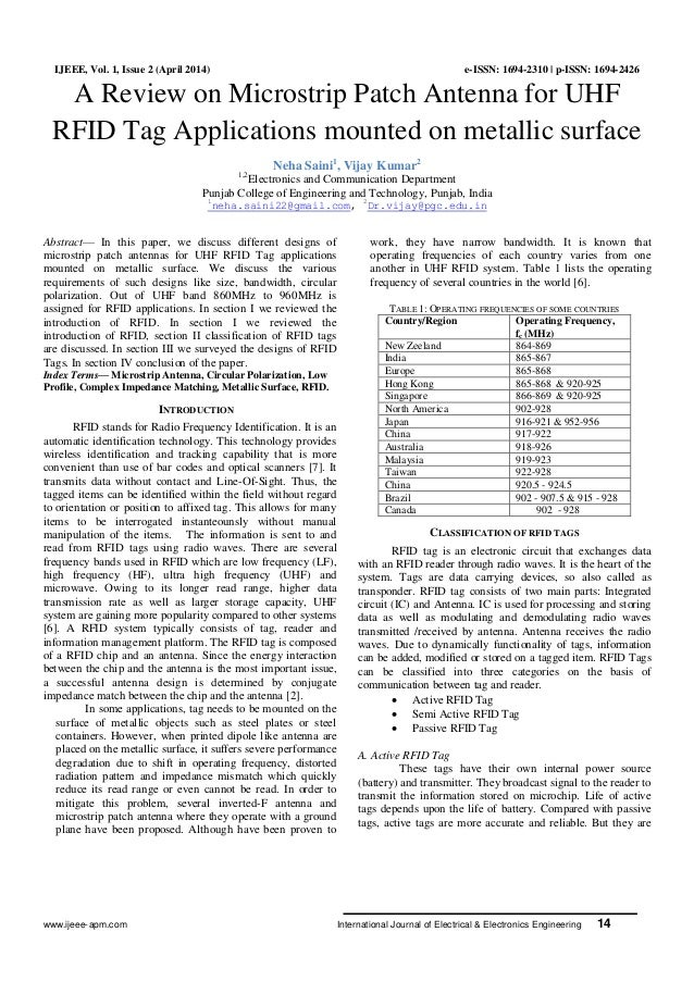 www.ijeee-apm.com International Journal of Electrical & Electronics Engineering 14 IJEEE, Vol. 1, Issue 2 (April 2014) e-I...
