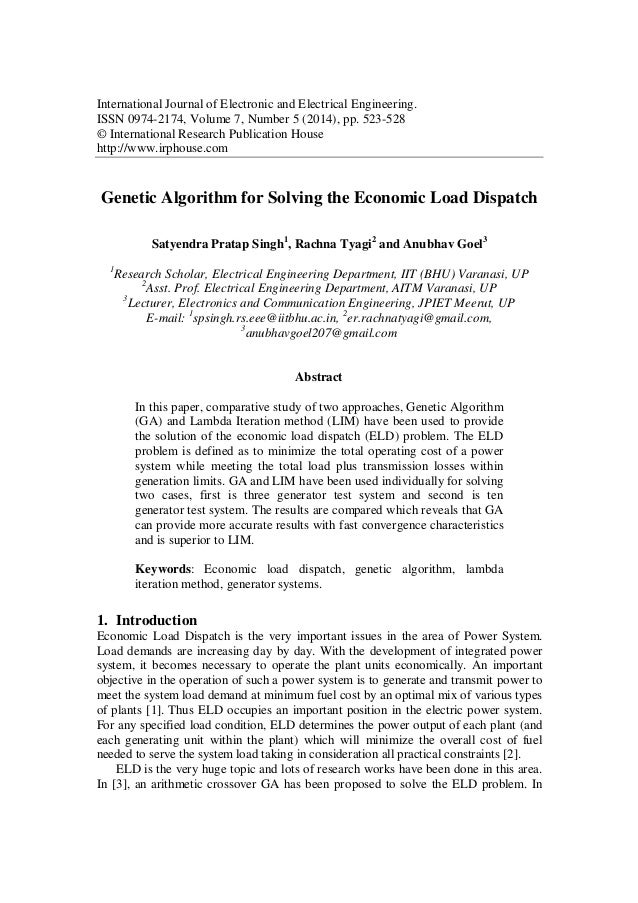 Phd thesis economic load dispatch