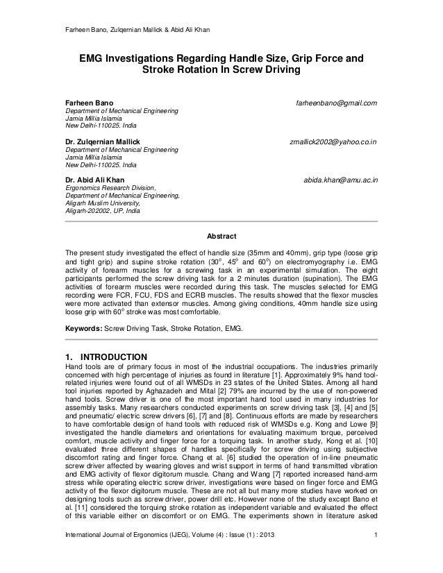 Farheen Bano, Zulqernian Mallick & Abid Ali Khan International Journal of Ergonomics (IJEG), Volume (4) : Issue (1) : 2013...