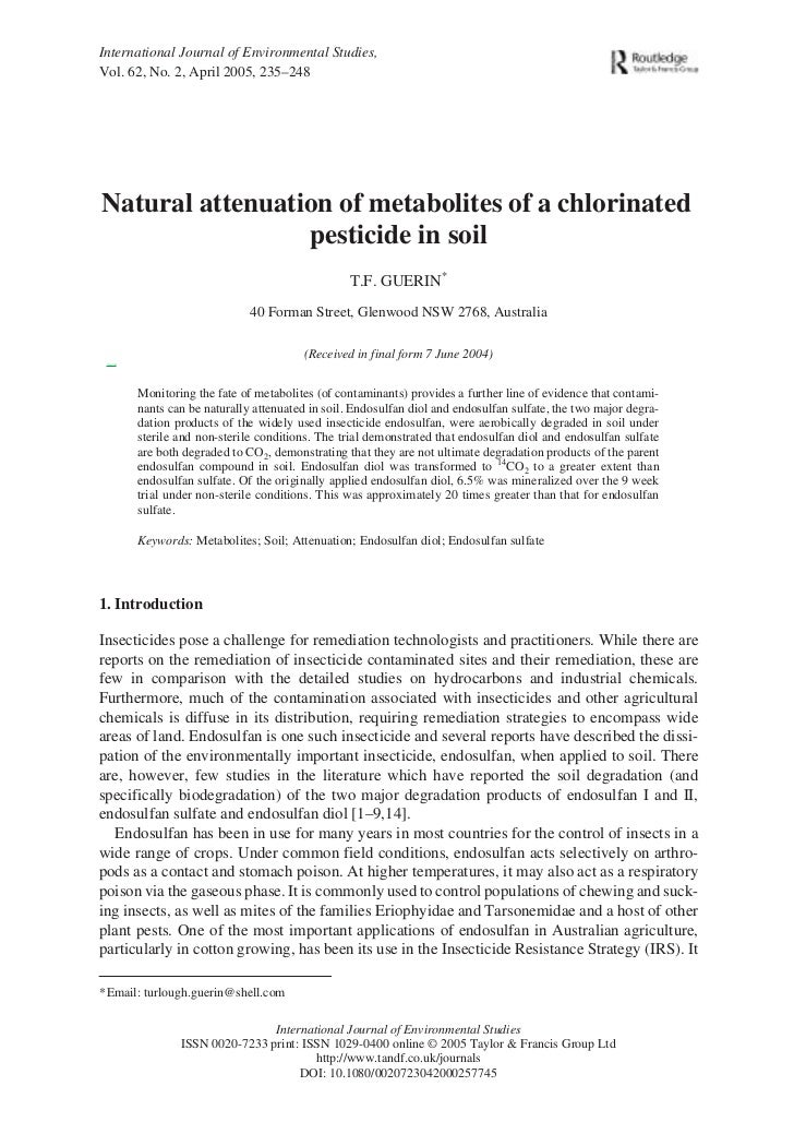 International Journal of Environmental Studies,Vol. 62, No. 2, April 2005, 235–248  Natural attenuation of metabolites of ...