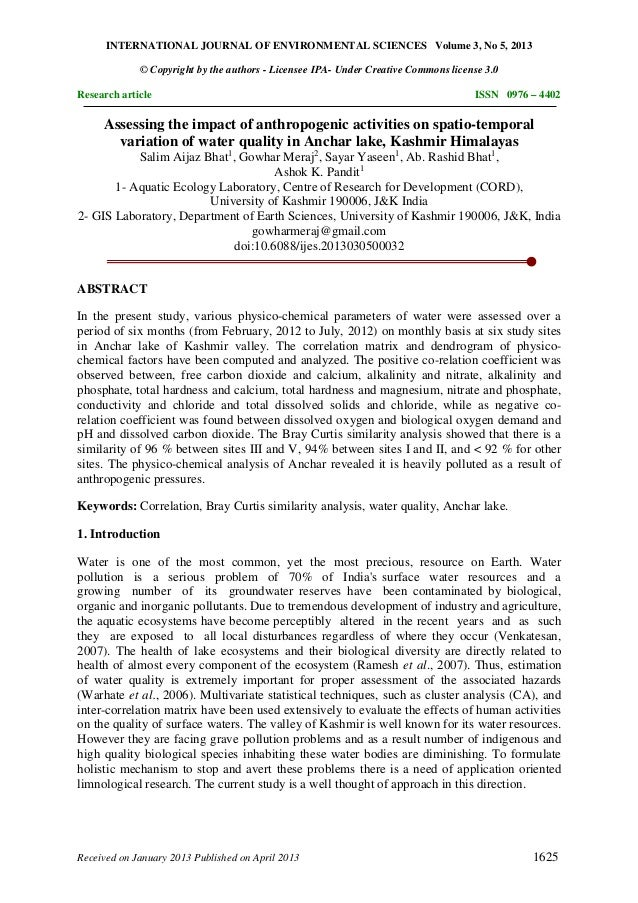 INTERNATIONAL JOURNAL OF ENVIRONMENTAL SCIENCES Volume 3, No 5, 2013 © Copyright by the authors - Licensee IPA- Under Crea...