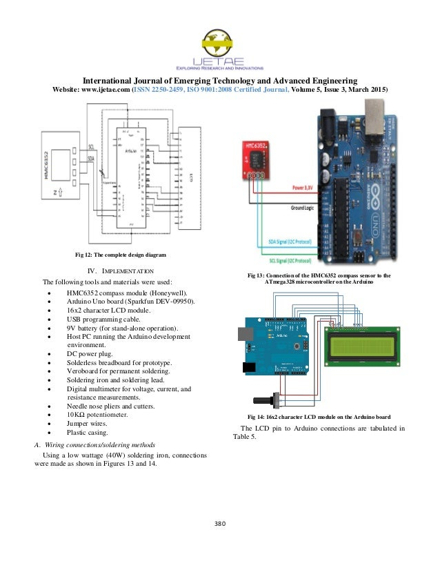 Design and Implementation of a Simple HMC6352 2AxisMR Digital Compa – Implement 7 Pin Wiring Schematic