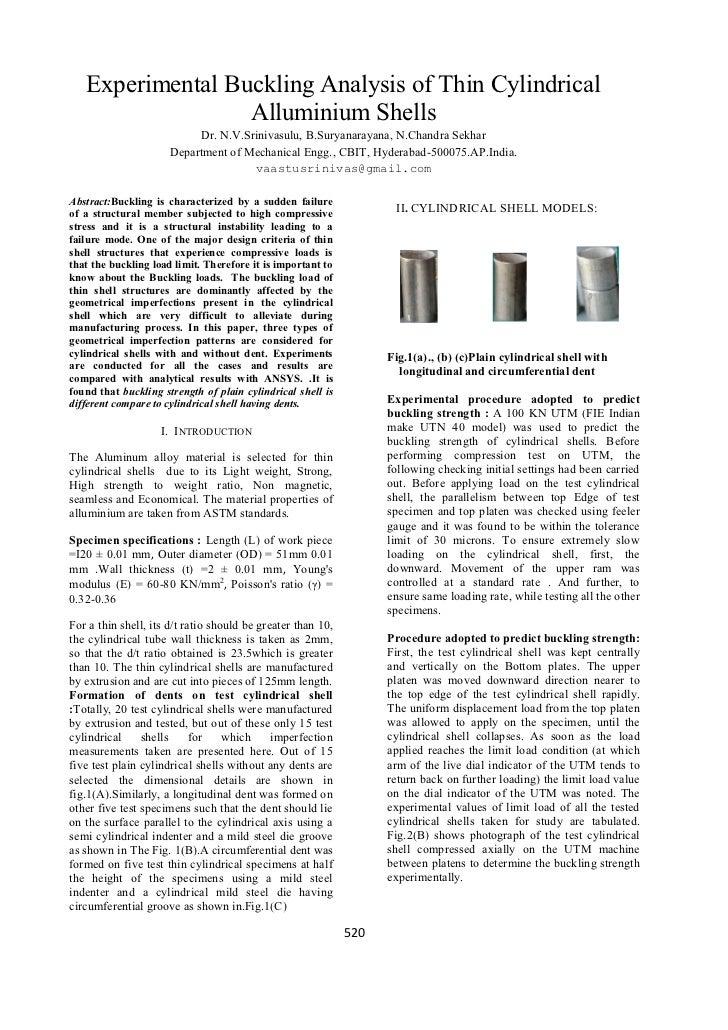 Experimental Buckling Analysis of Thin Cylindrical                  Alluminium Shells                           Dr. N.V.Sr...