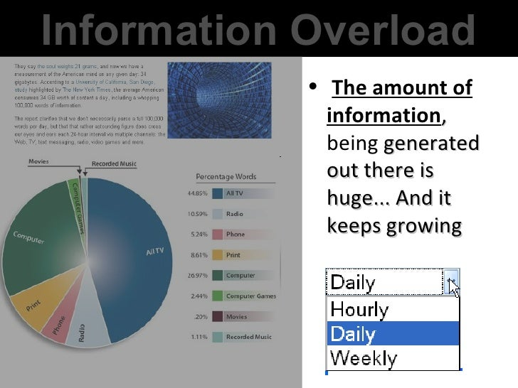 <ul><li>The amount of information , being  generated out there is huge... And it keeps growing </li></ul>Information Overl...