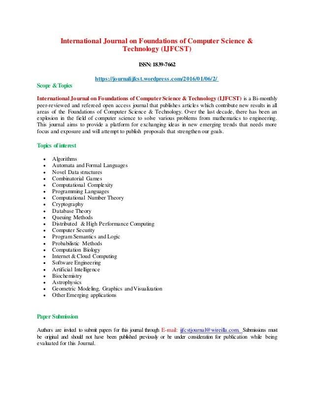 International Journal on Foundations of Computer Science & Technology (IJFCST) ISSN:1839-7662 https://journalijfcst.wordpr...