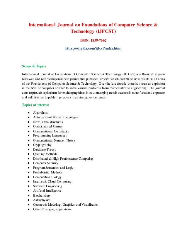 International Journal on Foundations of Computer Science & Technology (IJFCST) ISSN: 1839-7662 https://wireilla.com/ijfcst...