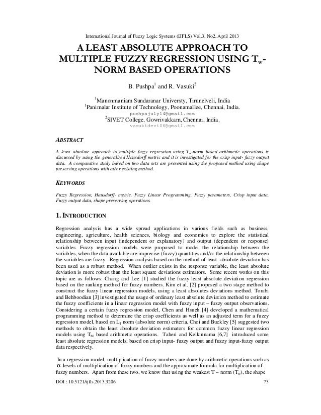 International Journal of Fuzzy Logic Systems (IJFLS) Vol.3, No2, April 2013DOI : 10.5121/ijfls.2013.3206 73A LEAST ABSOLUT...