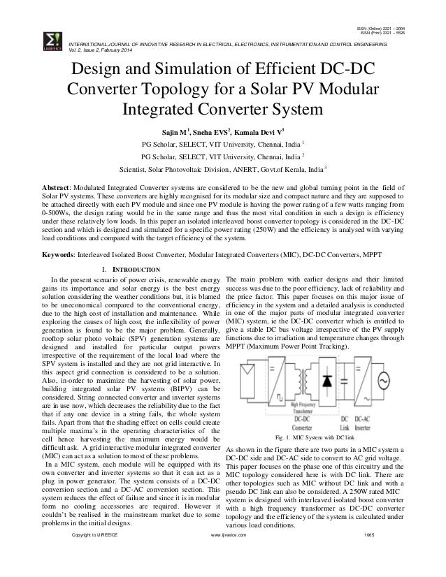 Design and Simulation of Efficient DC-DC Converter Topology for a Sol…