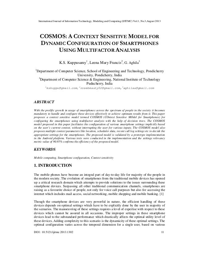 International Journal of Information Technology, Modeling and Computing (IJITMC) Vol.1, No.3,August 2013 DOI : 10.5121/iji...