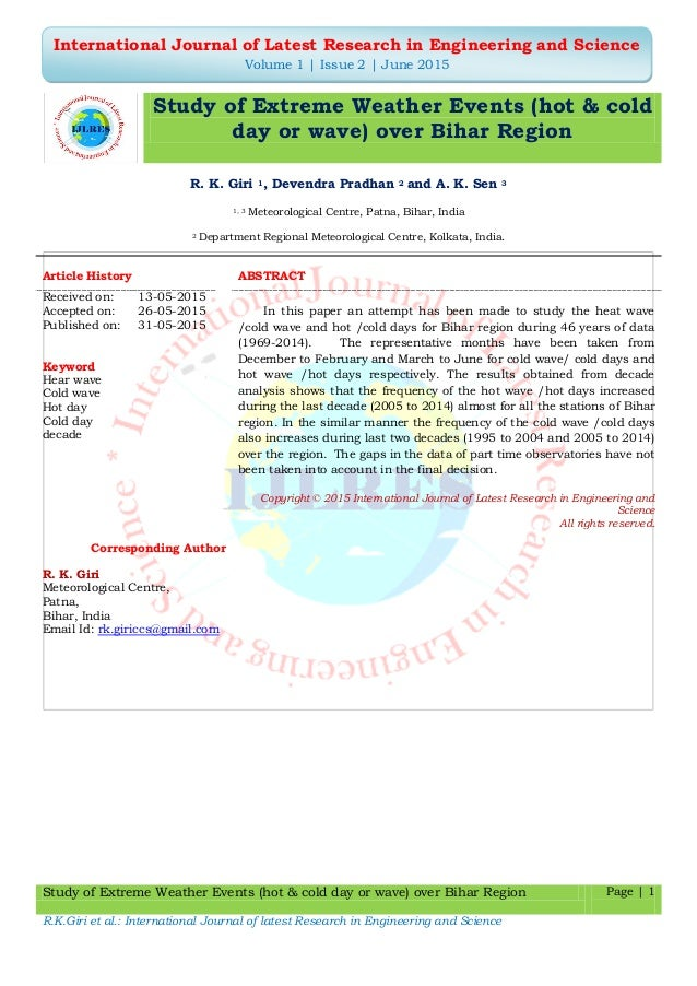 Study of Extreme Weather Events (hot & cold day or wave) over Bihar Region Page | 1 R.K.Giri et al.: International Journal...
