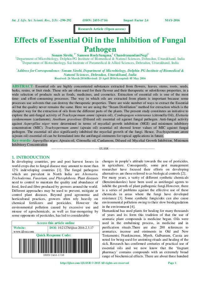 Effects Of Essential Oil In The Inhibition Of Fungal Pathogen