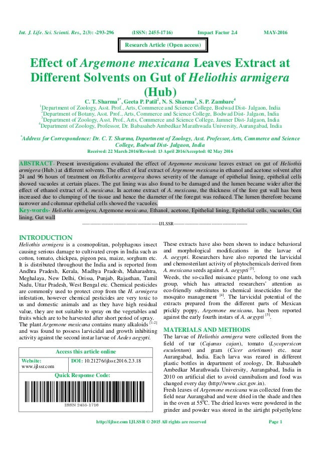Effect of Argemone mexicana Leaves Extract at Different