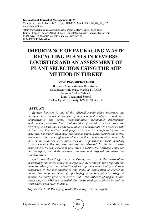 The Concept of Reverse Logistics. A Review of Literature