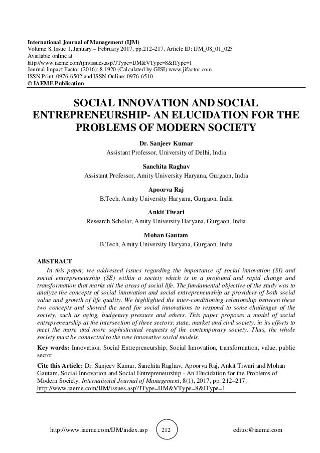 SOCIAL INNOVATION AND SOCIAL ENTREPRENEURSHIP - AN ELUCIDATION FOR TH…