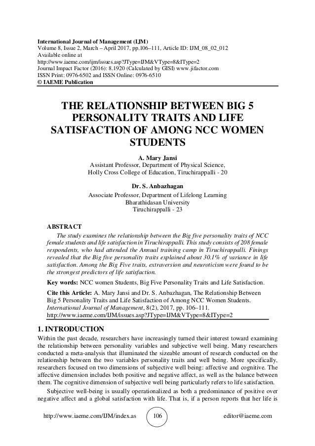 relationship between students personality traits and Students and relationship abstract: the study was carried out to investigate the relationship between personality types and career choice of secondary school students in federal government colleges in nigeria.