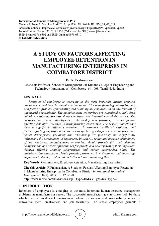 factors affecting employee retention thesis In order to, find out the most crucial factors in employee retention to raise or  2:  does other benefits and salary have positive and significant impact on job  of  first-term and second-term marine corps enlisted personnel, master's thesis,.