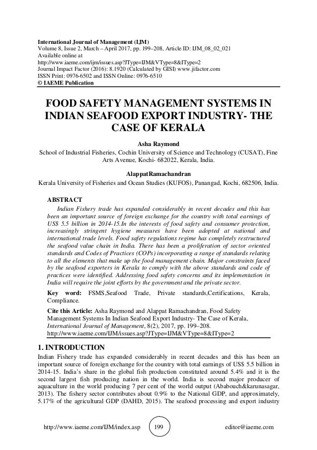 Food Safety Management Systems In Indian Seafood Export Industry The