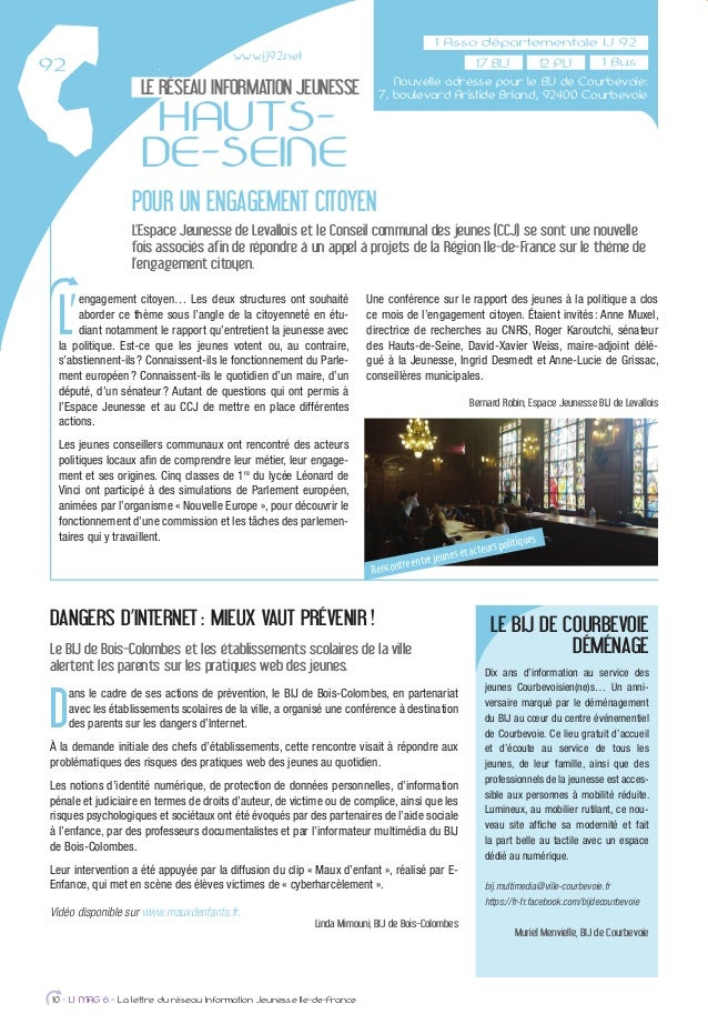 LE RÉSEAU INFORMATION JEUNESSE HAUTS- DE-SEINE POUR UN ENGAGEMENT CITOYEN L'Espace Jeunesse de Levallois et le Conseil com...