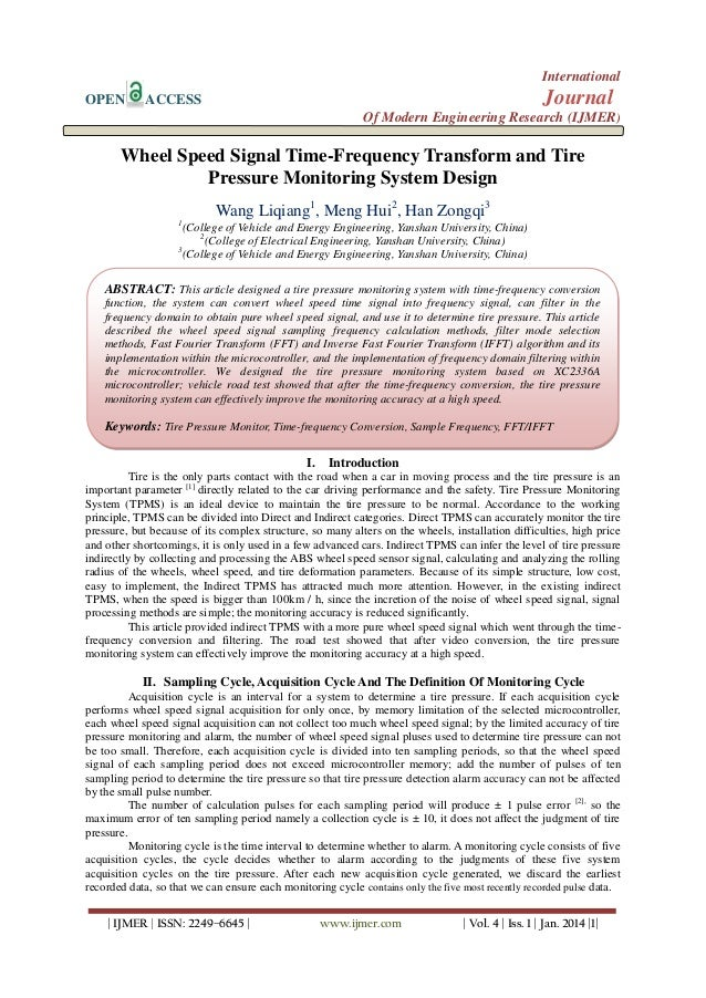 International OPEN  Journal  ACCESS  Of Modern Engineering Research (IJMER)  Wheel Speed Signal Time-Frequency Transform a...