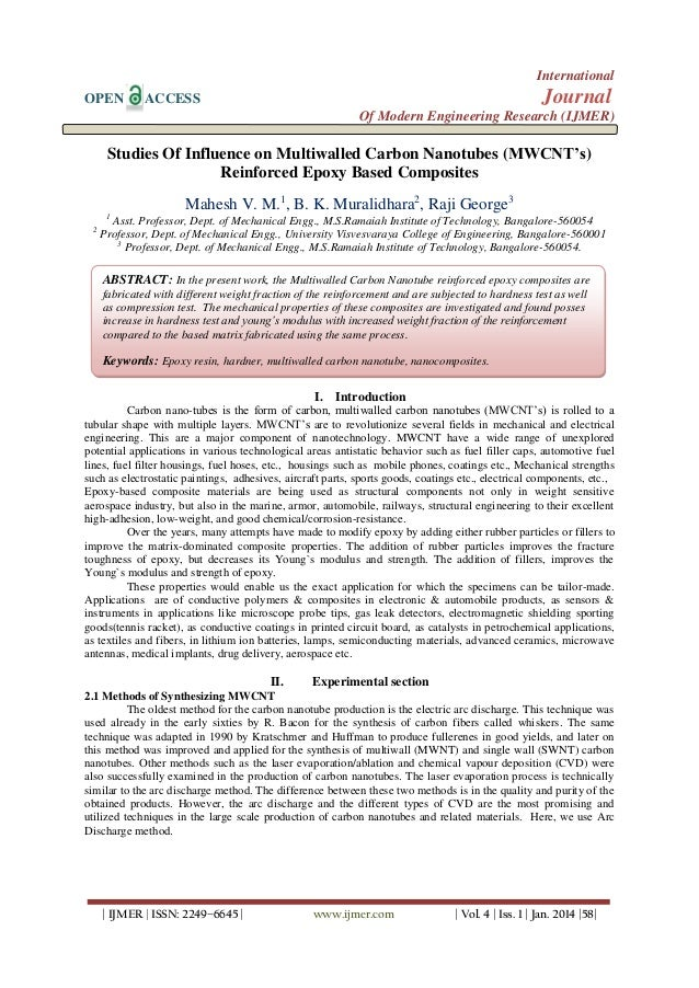 International OPEN  Journal  ACCESS  Of Modern Engineering Research (IJMER)  Studies Of Influence on Multiwalled Carbon Na...