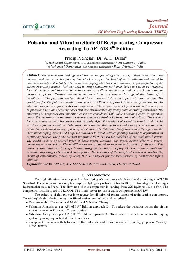 Pulsation and Vibration Study Of Reciprocating Compressor ...