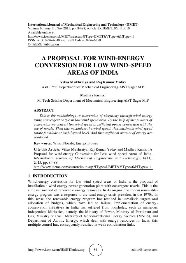A Proposal For Wind Energy Conversion For Low Windspeed Areas Of I