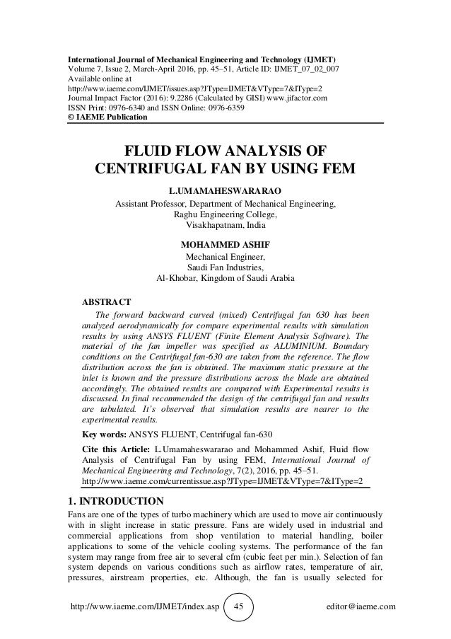 Fluid Flow Analysis Of Centrifugal Fan By Using Fem