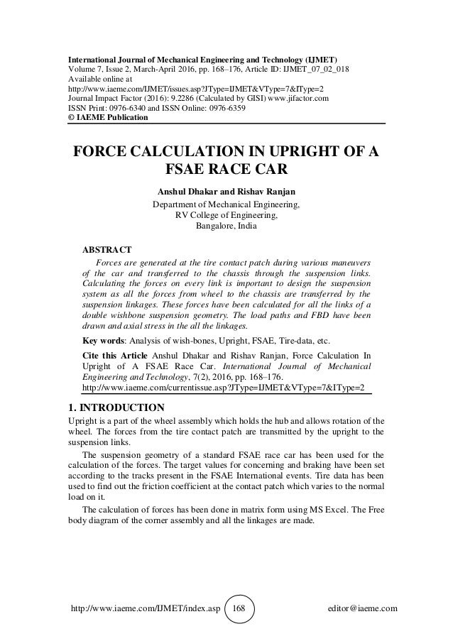 FORCE CALCULATION IN UPRIGHT OF A FSAE RACE CAR