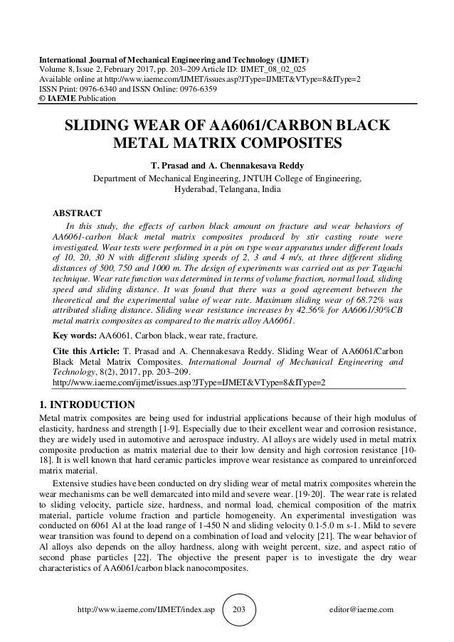 SLIDING WEAR OF AA6061/CARBON BLACK METAL MATRIX COMPOSITES