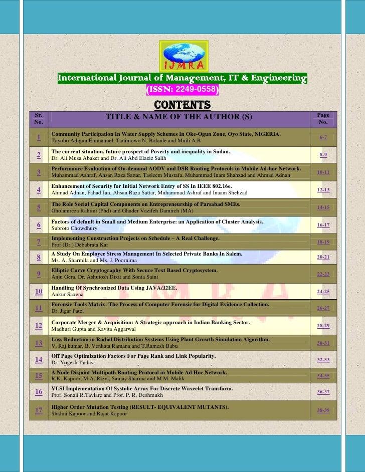 International Journal of Management, IT & Engineering                            (ISSN: 2249-0558)                        ...