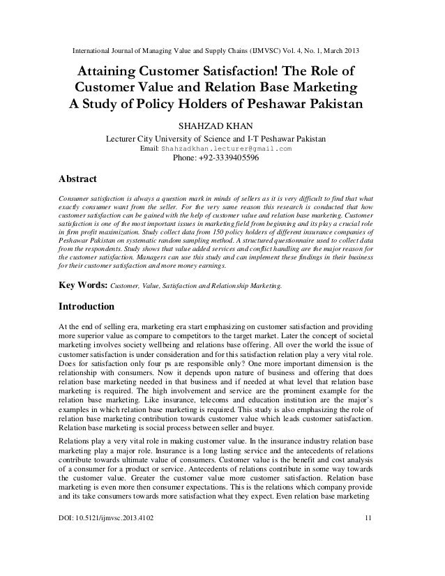 International Journal of Managing Value and Supply Chains (IJMVSC) Vol. 4, No. 1, March 2013    Attaining Customer Satisfa...