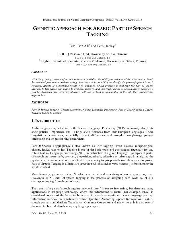 International Journal on Natural Language Computing (IJNLC) Vol. 2, No.3, June 2013 DOI : 10.5121/ijnlc.2013.2301 01 GENET...