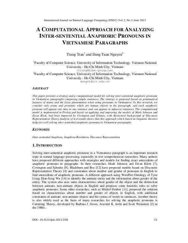 International Journal on Natural Language Computing (IJNLC) Vol. 2, No.3, June 2013 DOI : 10.5121/ijnlc.2013.2303 23 A COM...