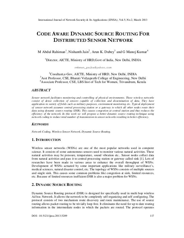 International Journal of Network Security & Its Applications (IJNSA), Vol.5, No.2, March 2013    CODE AWARE DYNAMIC SOURCE...