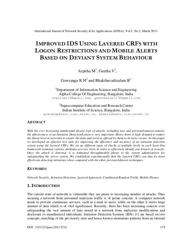 International Journal of Network Security & Its Applications (IJNSA), Vol.5, No.2, March 2013      IMPROVED IDS USING LAYE...
