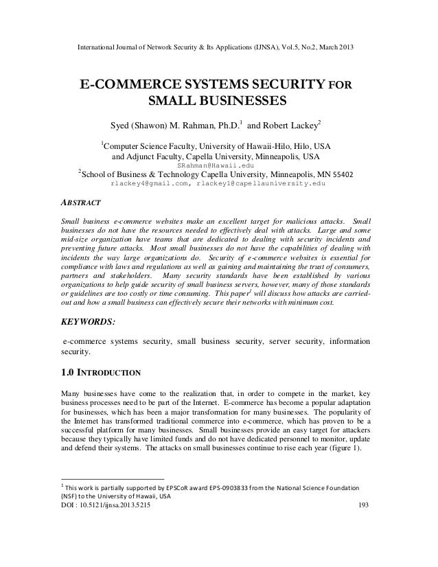 International Journal of Network Security & Its Applications (IJNSA), Vol.5, No.2, March 2013      E-COMMERCE SYSTEMS SECU...