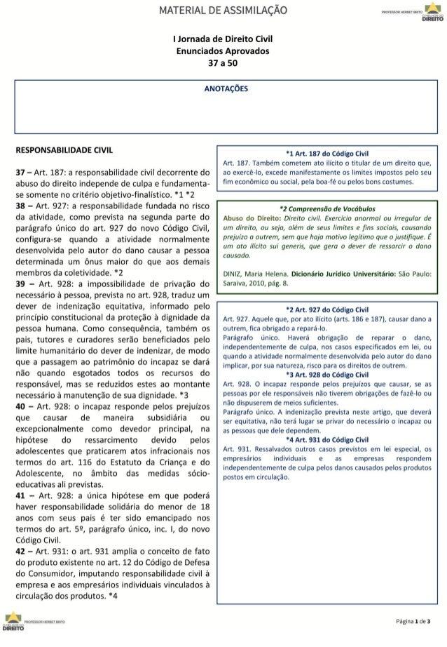 I Jornada de Direito Civil 37 a 50