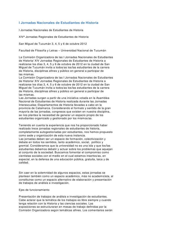I Jornadas Nacionales de Estudiantes de HistoriaI Jornadas Nacionales de Estudiantes de HistoriaXIVª Jornadas Regionales d...