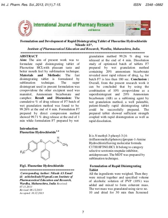 Int. J. Pharm. Res. Sci.,2013, 01(1),7-15.  ISSN  2348 –0882  Formulation and Development of Rapid Disintegrating Tablet o...