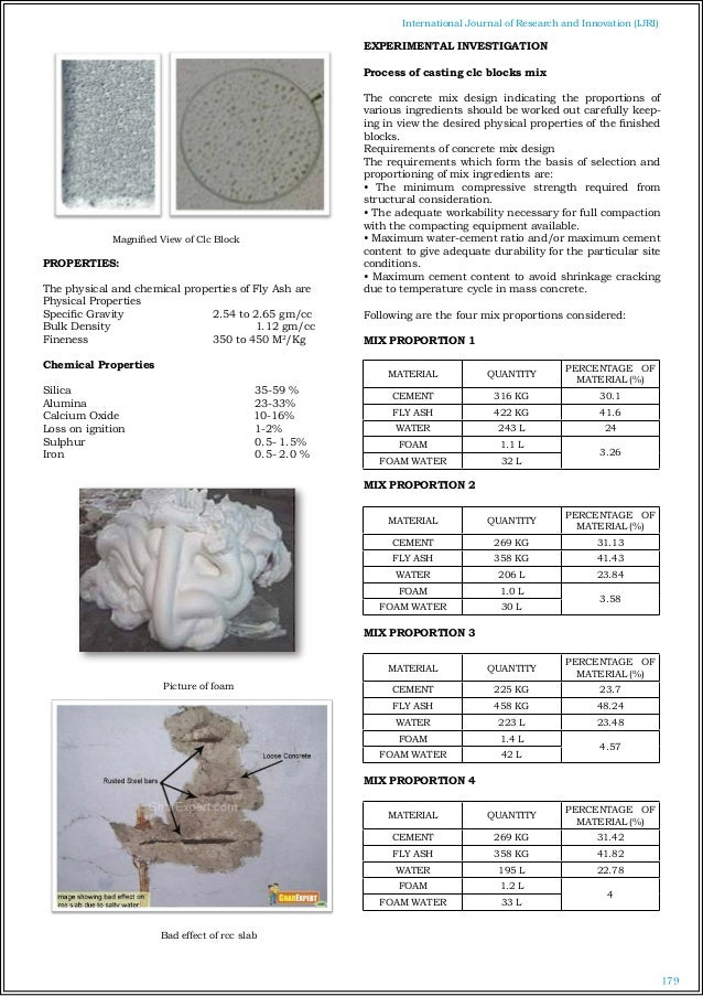 Cellular Concrete Mix Design : Cellular light weight concrete blocks with different mix