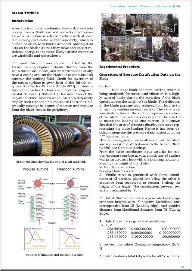 Design and analysis of multi stage steam turbine blade and shaft ass 2 38 international journal of research and innovation ijri steam turbine fandeluxe Gallery