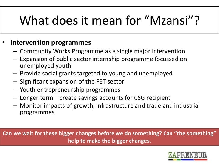"""What does it mean for """"Mzansi""""?• Intervention programmes   – Community Works Programme as a single major intervention   – ..."""