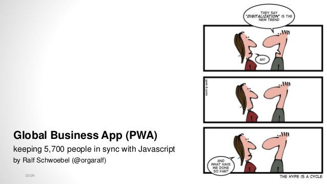 Global Business App (PWA) keeping 5,700 people in sync with Javascript by Ralf Schwoebel (@orgaralf) 10:09