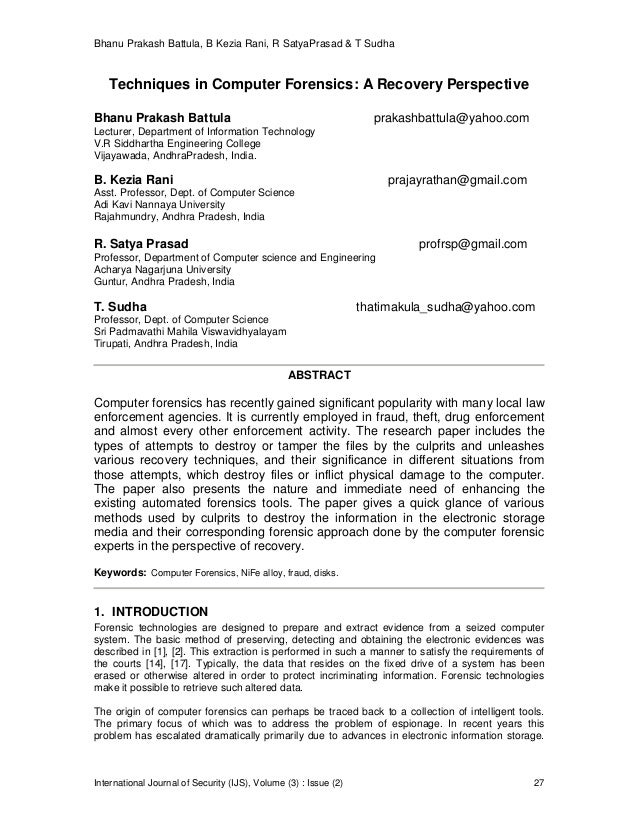Bhanu Prakash Battula, B Kezia Rani, R SatyaPrasad & T Sudha International Journal of Security (IJS), Volume (3) : Issue (...
