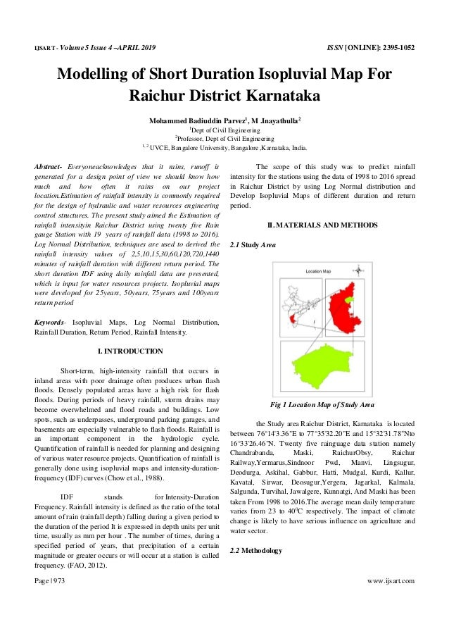 IJSART - Volume 5 Issue 4 –APRIL 2019 ISSN [ONLINE]: 2395-1052 Page | 973 www.ijsart.com Modelling of Short Duration Isopl...