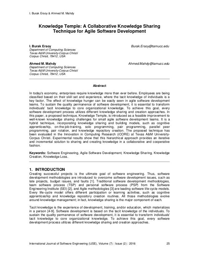 I. Burak Ersoy & Ahmed M. Mahdy International Journal of Software Engineering (IJSE), Volume (7) : Issue (2) : 2016 25 Kno...