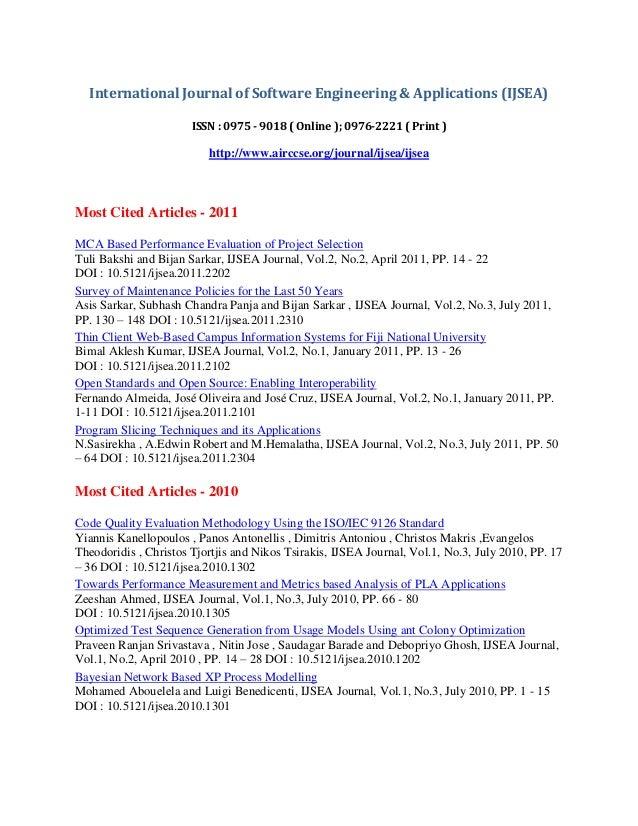 International Journal of Software Engineering & Applications (IJSEA) ISSN : 0975 - 9018 ( Online ); 0976-2221 ( Print ) ht...